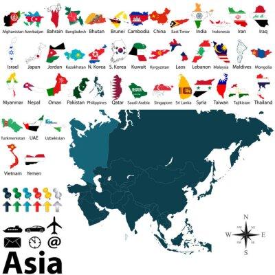 Плакат Политические карты Азии