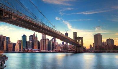 Плакат Пон-де-Бруклин исп Манхэттен, Нью-Йорк.