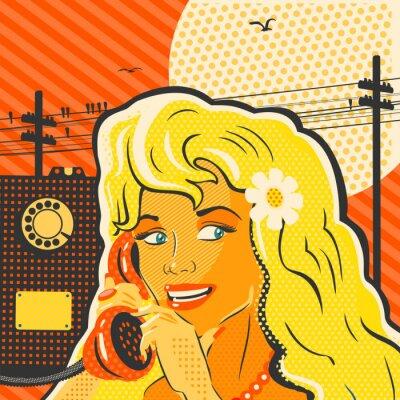 Плакат Поп-арт девушка с телефоном