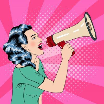 Плакат Поп-арт Стиль Женщина с мегафоном
