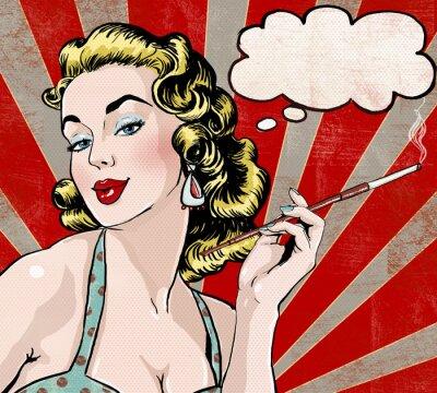 Плакат Pop Art  woman with the speech bubble and cigarette.