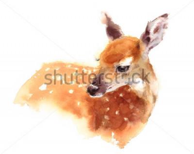 Плакат Акварель Baby оленей Ручная роспись