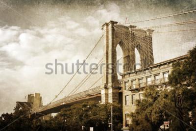Плакат винтажная картина Бруклинского моста в Нью-Йорке