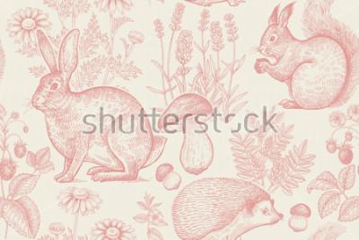 Плакат Лесные животные и растения бесшовные модели. Заяц, еж, белка, ягоды клубники, цветы лаванды, ромашки и грибов. Ручной рисунок. Белый и красный. Винтажная гравировка. Векторные иллюстрации