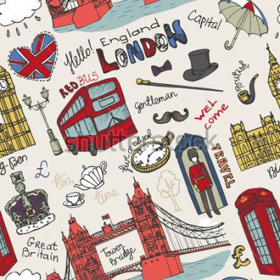 Плакат Вектор Лондонский ориентир, надпись на бесшовном шаблоне. Десерт Рука обращается зарисовка. Знаменитые архитектурных памятников, знак, символы. Англия старинные значки, фон, фон, обои, ткань