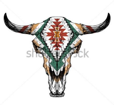 Плакат Бык / турок черепа с рогами на белом фоне. с традиционным орнаментом на голове