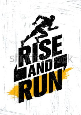 Плакат Восстань и беги. Марафон Спортивное Событие Мотивация Цитата Плакат Концепция. Образ жизни.