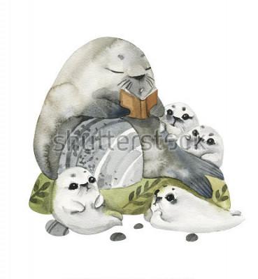 Плакат Иллюстрация милые морские котики в акварельном стиле. Дед читает рассказы своим внукам. Истории в картинках.