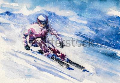 Плакат Горный лыжник скользит с горы. Картина создана акварелью.