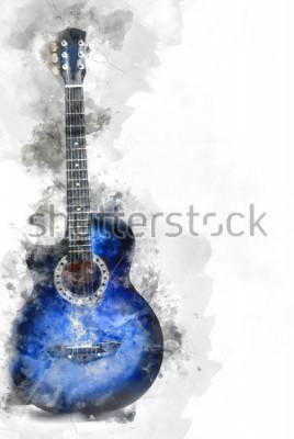Плакат Абстрактные красивые гитары на переднем плане, акварельные картины фон и цифровые иллюстрации кисти в искусстве.
