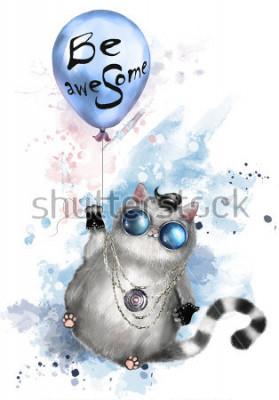 Плакат Иллюстрация милой кошки в стиле рокеров, с круглыми очками и украшениями. Кошка, летающая на воздушном шаре с надписью, должна быть потрясающей. акварель Splash краска. Футболка, крутой принт.