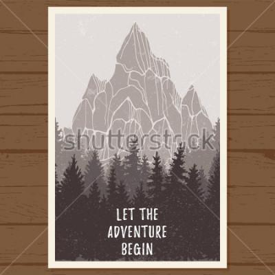 Плакат Плакат с диким хвойным лесом с горами; сосна, пейзажная природа, естественная естественная панорама; открытый приключенческий кемпинг, туризм, дизайн шаблона; рисованная векторная иллюстрация