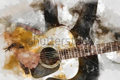 Плакат Абстрактные красивая женщина играет гитарист на переднем плане. Крупным планом, акварель, живопись и искусство.