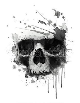 Плакат Иллюстрация акварель череп