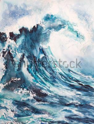 Плакат морская волна акварельная живопись