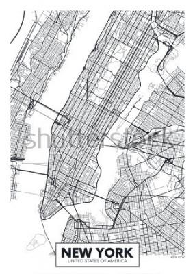 Плакат Векторная карта города Нью-Йорк