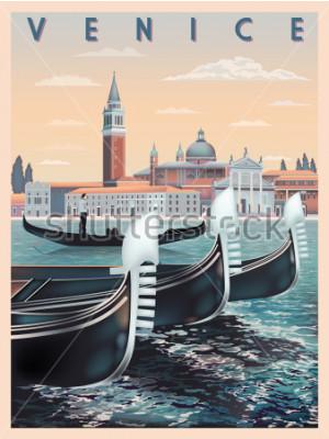 Плакат Рано утром в Венеции, Италия. Шаблон путешествия или открытки. Все здания разные объекты. Ручной рисунок векторные иллюстрации. Винтажный стиль.