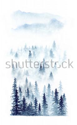 Плакат Акварель зимний пейзаж леса в тумане. Эли, находящиеся на белом фоне