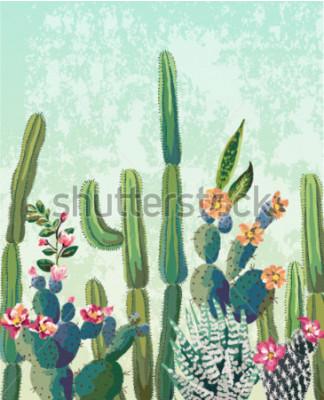 Плакат Симпатичные суккуленты Кактус векторный рисунок