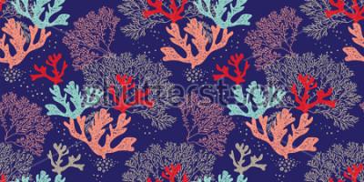 Плакат Ручной формы бесшовные модели вектор. Ткани для текстиля, ткани, текстиля, изготовления обоев. Морское дно.