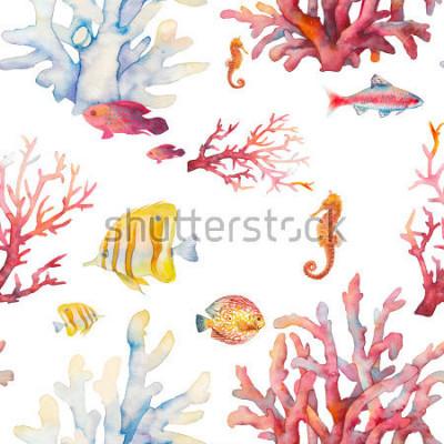 Плакат Акварель коралловый риф бесшовные модели. Ручной дизайн реалистичный фон: тропические рыбы, кораллы, морской конек на белом фоне. Естественный повторяющийся дизайн текстуры для бумаги, ткани