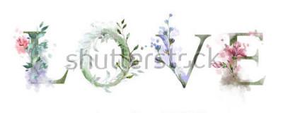 Плакат Акварельные иллюстрации с дикими цветами, травами - любовь. Прикольный принт на футболке. Vintage. буквенное обозначение