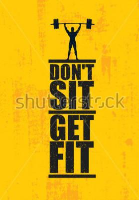 Плакат Не сиди Готовься. Тренажерный зал тренажерный зал и фитнес. Творческий пользовательский знак