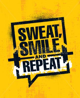 Плакат Пот, улыбнись и повтори. Вдохновляющие тренировки и фитнес-зал Мотивация Цитата Иллюстрация знак. Креативный сильный спорт вектор