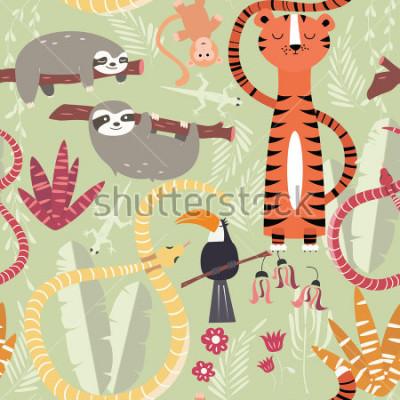 Плакат Тропические леса, тигр, змея, ленивец, векторная иллюстрация