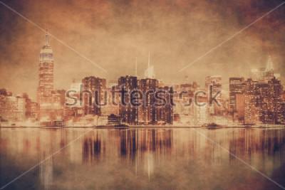 Плакат Винтажный стиль нью-йоркского горизонта