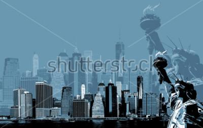 Плакат Абстрактное изображение Манхэттена. Символы Нью-Йорка. Манхэттен и Статуя Свободы Нью-Йорк Сити. Современное искусство и стиль плакаты в голубом