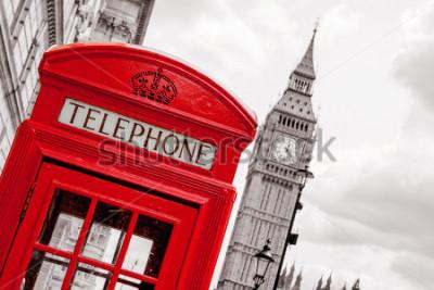 Плакат Красная телефонная будка и Биг Бен. Леононд, ангелы
