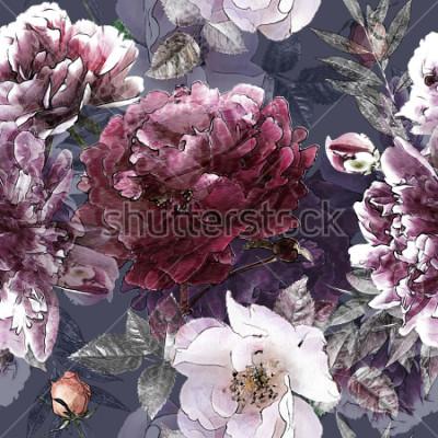 Плакат Искусство урожай карандаш цветные красочные модели с белыми розами и фиолетовые пионы на фоне. Двойная экспозиция и эффект боке
