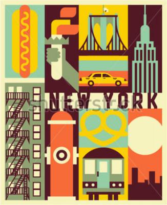 Плакат Вектор Нью-Йорк фон