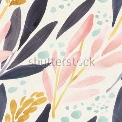 Плакат Бесшовные акварель на бумаге текстуры. Цветочный фон
