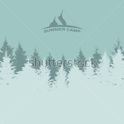 Плакат Летний лагерь. Образ Природы. Силуэт дерева иллюстрация