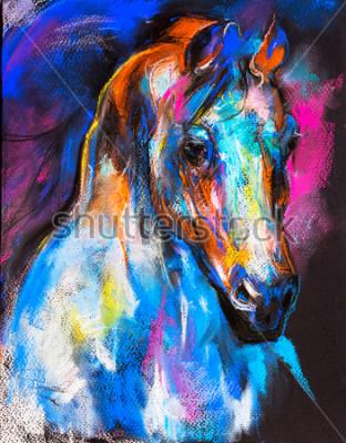 Плакат Оригинальная пастельная роспись лошади на картоне. Современное искусство.