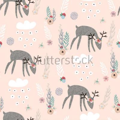 Плакат Безшовная картина с оленями, флористическими элементами, ветвями. Творческий лесной фон. Идеально подходит для детской одежды, ткани, текстиля, украшения детской, упаковочная бумага. Векторная иллюстр