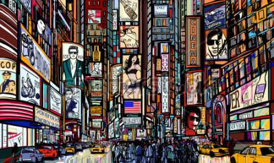 Плакат Иллюстрация улицы в Нью-Йорке - Таймс-сквер - векторная иллюстрация