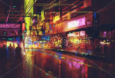 Плакат городская улица с подсветкой и ночной жизнью, цифровая живопись