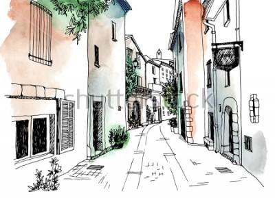 Плакат Улица Старого города в стиле рисованной эскиз. Векторная иллюстрация Маленький европейский город. Франция. Городской пейзаж на акварельном красочном фоне