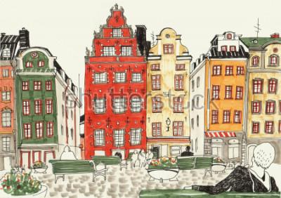 Плакат Красочные рисованной иллюстрации домов Стокгольма, эскиз улицы европейского города. Чернила и маркеры.