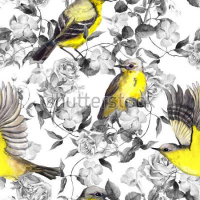 Плакат Дикие луговые цветы и птицы. Акварель. Нейтральный бесшовный узор в черно-белых тонах с яркими птицами