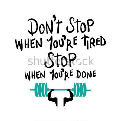 Плакат Тренировка тренажерный зал фитнес бодибилдинг концепция мотивации / дизайн векторной печати