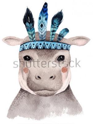 Плакат Акварельный портрет бегемота, милый дизайн Бохо с перьями. Питомник печатает с животными, афишами и открытками.
