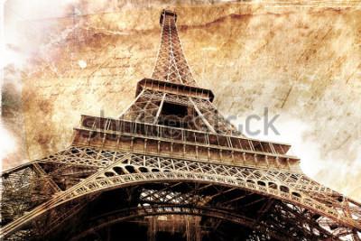 Плакат Абстрактное цифровое искусство Эйфелева башни в Париже, золото. Старая бумага. Открытка, высокое разрешение, печать на холсте