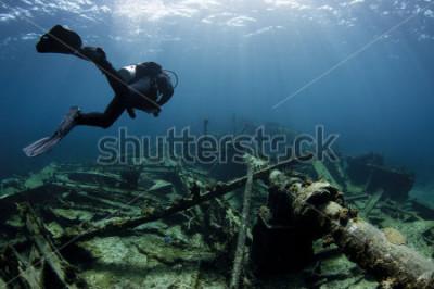 Плакат Аквалангист плывет над кораблекрушением