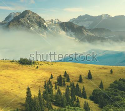 Плакат горный пейзаж, скалистые горы в тумане окружают траву холмов