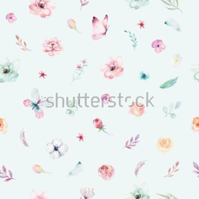 Плакат Cute watercolor unicorn seamless pattern with flowers. Nursery magical unicorn patterns. Princess rainbow texture. Trendy pink cartoon pony horse.