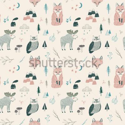 Плакат seamless pattern of woodland animals, trees, mountains
